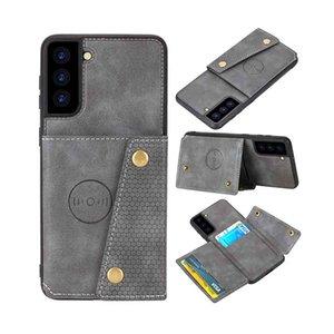 Cas de portefeuille pour Samsung Galaxy S21 + Plus Slim Card Slot Boîte Stand Stand PU Cuir Sam. S21 Ultra Cover