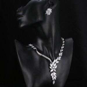 Zakol مجوهرات الزفاف مجموعة الزفاف قلادة زهرة مربط القرط كريستال المختنق بيان قلادة العروسة مجموعات كريستما 362 T2