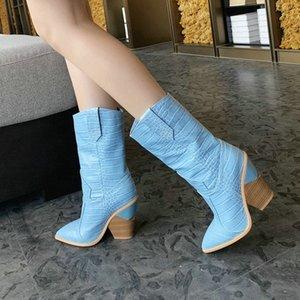 Woman Western Boots Мода Шить Клина Каблук Заостренные Женщины Сапоги Сапоги на коротких Осенью Обувь Зима Синий Z5KE #
