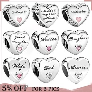 925 Sterling Silver Heart Shape Mom Siester Charms Beads Fit Original Pandora Bracelet Silver Jewelry Making 49 Types Available