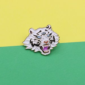 Fierce trend, tiger head with three eyes, big mouth showing sharp teeth, creative oil dropping Brooch fashion Badge