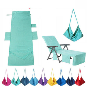 New Beach Chair Cover 9 Colors Lounge Chair Cover Blankets Portable With Strap Beach Towels Double Layer Thick Blanket AHB5014