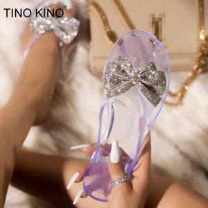 2021 Woman Pu Leather Bling Summer Slippers Women Butterfly Knot Beach Shoes Slip on Flip Flops Ladies Flat New Fyn4