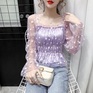 Women's Bottoming Shirt 2021 New Square Collar Bubble Long Sleeve Mesh Slim Top Female Blusas