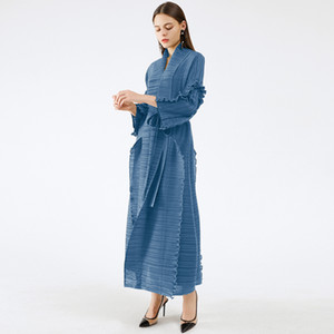 Miyake pleated long petal sleeve dress lapel cardigan Sashes plus size high long green dress winter women aesthetic clothes 210306