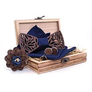 Pajarita de madera de lazo Hecho a mano Arcos de nudo Gemelos de gemelos Pantalla cuadrada de corsage Conjunto con caja gratis DHL