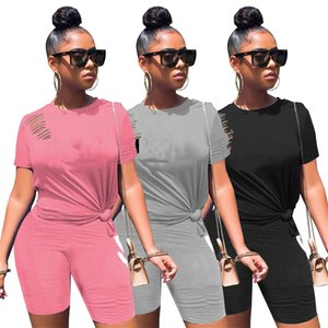 Women sports Tracksuit t shirts 2 piece sets short sleeve tee shirt+mini shorts summer clothes ripped outfits casual jogger suit 4550