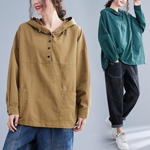 Women's Blouses & Shirts BIG SIZE Spring Autumn Women Fashion Solid Color Hooded Tops Ladies Female Plus Large Long Loose Cotton Pullover Bl