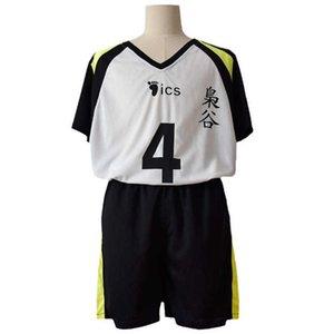 Haikyuu No.5 Akaashi Keiji No.4 Bokuto Koutarou Cosplay Uniform Short Wig Fukurodani Academy Jersey Sports Wear Top+Shorts Adult Y0913