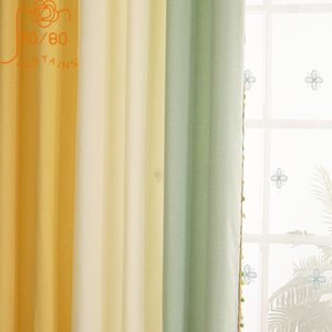 Curtain & Drapes Children's Room Solid Color Lace Stitching Cotton And Linen Window Screen Curtains For Living Bedroom Custom Finished