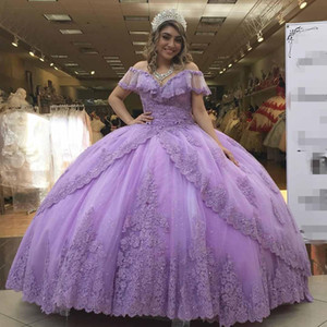 2021 New Light Purple Lilac Quinceanera Dresses Ball Gown Tulle Lace Appliques Beads Off Shoulder Plus Size Formal Party Prom Evening Gowns
