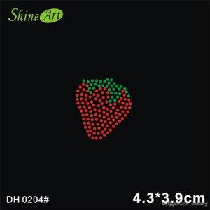 Free shipping Big Red Strawberry Design Hotfix Rhinestone Transfer Motif For Girls Handbags DIY DH0204#