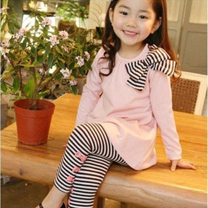 Spring Autumn Girls Clothes Casual Children Clothing Set Long Sleeve Shirts Striped Leggings Baby Kids Suits 3 4 5 6 7 8 Years