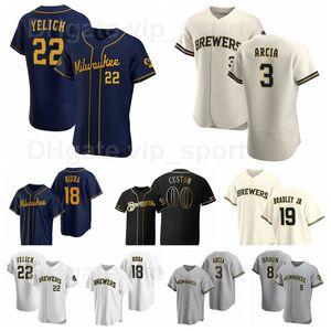 18 Keston Hiura Jersey 야구 3 올랜도 아르시아 8 Ryan Braun 19 Jackie Bradley JR 22 Christian Yelich Pinstripe FlexBase 사용자 정의 이름 번호