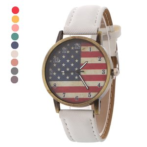 9 Colors American Flag Unisex Mens Watches Leather Band Analog Vogue Wrist Quartz Watches Luxury Watch Wristwatches Gift