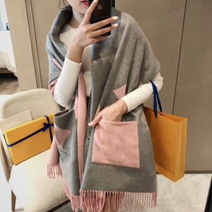 Luxury Brand scarves and shawls Designer Shawls cotton pocket scarf ladies noble wear bib letter embroidery color matchi