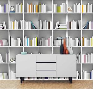 Carta da parati personalizzata Murale 3D / 8D Tridimensionale Modern Minimalist Books TV Sfondo muro parete parete