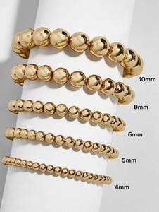 CCB Ball Beads Bracelet Stretchable Elastic Beaded Bracelets Fashion Summer Beach Gold Color Bracelet Bangle Bohemian Multilayer Jewelry