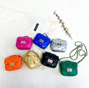 Kids diamond lattice quilted handbags girls metals buckle chain single shoulder bags lady style children PU leather messenger bag Q2215