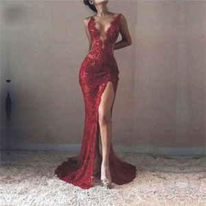 2021 Hot Burgundy See Through Appliques Mermaid Sheath Lace Women Prom Dress High Leg Split Custom Made Party Maxi Gowns