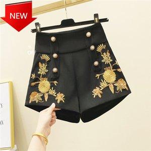Pantalones cortos Mujer Primavera Retro Pearl Botón de cintura alto Templaje de cintura altos Nancylim Q0131