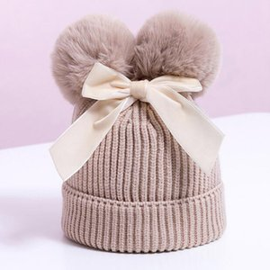 Double Ball Bow Hat Cute Casual Outdoor Ski Cap Stretch Knitted Hat Winter Stretch Knitted Hat For Children