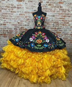 Exclusiva De Vestidos Coleccion Charro Quinceanera Dress Ball Gowns For Mexican Girl Embroidery Lace Ruffles Skirt Prom Dress