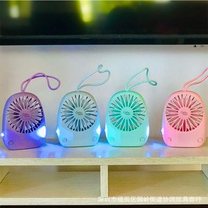 Portable charging Mini USB Fan with night light creative student desk gift