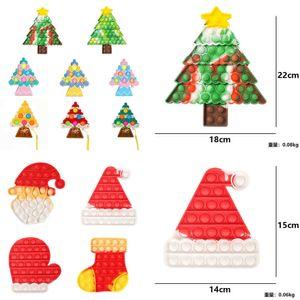 Christmas push pops bubble popper board tie dye xmas tree santa clause stocking hat sensory fidget finger puzzle toys key ring with lanyard keychain poo-its G83JNEH