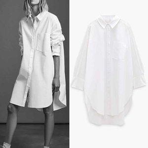 Осень 2021 za Белый Негабаритные Рубашки Рубашки Женщины Блузки Синий Воротник Поплина Рубашка С Длинным Рукавом Плюс Размер Дамы Топы Pocket 210312