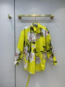 Рубашки Милана взлетно-посадочные полосы 2021 с длинным рукавом отворот шеи печать дизайнер блузки бренда же стиль женщины 0611-21