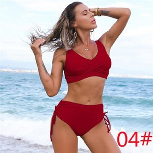 03 One-Piece Suits Amazon swimsuit European and American bikini female sexy high waist pure color Beach equipment