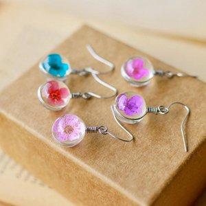 Dandelion Dried Flowers Earrings 6 Colors Real Daffodils Flower Earring Glass Ball Pressed Dangle Earing Jewelry Gift Wholesale