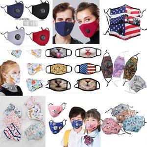 أطفال قابلة لإعادة الاستخدام القطن faceMask بلينغ وجه لورق الضباب الفم PM2.5 مرشحات ركوب الدراجات قناع مع صمام PM2 5 مرشح