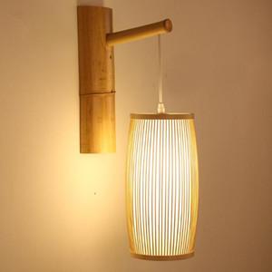 Bambú Wicke Rattan Lantern Linterna Lámpara de pared China Asiática Art Deco Sconence Light Luminaria para Restaurante Dormitorio Condición de noche Pasillo de noche