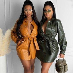 PU-Faux-Leder-Hemd-Kleid Frauen-Kleidung Abzugskragen-Button Mini-Party-Kleid Nachtclub tragen sexy mit gürtel vestido