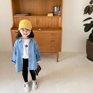 AMBB New kids girls denim coat autumn long sleeve girls jacket quality little girls jeans coat front buttons children bountique clothes