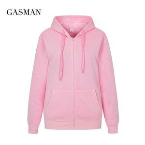 Gazman sonbahar katı uzun kollu hoodies tişörtü kadın hoodie fermuar kış kadın rahat cep kapüşonlu tişörtü giysi 201019