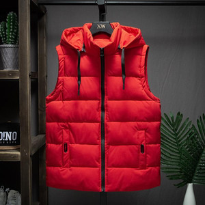 Winter Sleeveless Jacket Men Down Vest Men Warm Thick Hooded Coats Male Cotton-Padded Men's Work Waistcoat Gilet Homme Vest 4XL