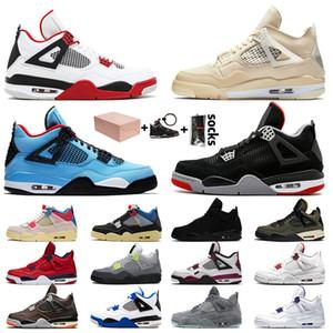 Con scatola OFF White Nike Air Jordan 4 Retro 4 4s Jumpman Stock x Scarpe da basket da uomo Cream Sail Guava Ice Union Scarpe da ginnastica Sneakers