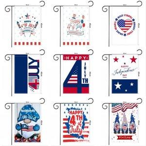 ABD Bağımsızlık Günü Pongee Bahçe Bayrağı 30 * 45 cm Mutlu 4 Temmuz Açık Bahçe Asılı Bayrak Gnomes Tasarım Bahçe Banner
