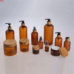 Botella de la bomba de la bomba de la loción de la emulsión de la crema vacía helada de 60 ml, plástico de bambú boquilla de boquilla de boquilla de boquilla de tóbor de botella recargable