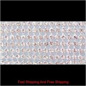 Factory Directly Sale! 24row Fix Clear Rhinestone Cover skin Cloth Appliques 120cmx7.6cmfor Handmade Diy jlluYZ warmslove