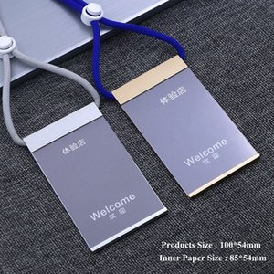 Aluminum Alloy Vertical Name Tag Badge ID Card Holders Work Business Pass Case With Adjustable Neck Lanyard