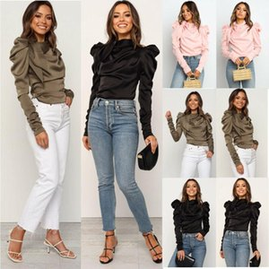 Fashion Women Long Puff Sleeve Blouse Bow Satin Shirt Blouse Autumn Tops Ladies Shirt