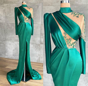 High Neck 2021 Arabic Green Sexy Evening Dresses Beaded High Split Satin Prom Gowns Satin Formal Party Illsuion Runway Dress ZJ642