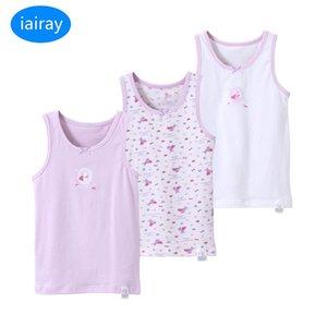 IAIRAY 3 قطعة / المجموعة الصيف القطن تانك القمم للبنات أكمام تي شيرت الاطفال singlets الوردي الأبيض undershirt أزياء فتاة داخلية 210306