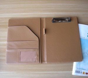 Business Card Files Promotion A5 Faux Leather File Folder Padfolio Conference Menu Cover With Memo Pad Inner Paper Clip Notebook Office Supp