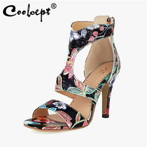 Coolcept Size 34-43 Women Sandals New Arrival Fashion Zipper Flower High Heel Summer Shoes Woman Sexy Party Office Lady Footwear