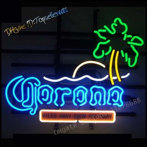 "Queen Sense 17""x14"" Corona Extra Fish Palm Tree Sunshine Neon Sign Light Man Cave Bar Pub Beer Handcrafted Home Wall Decor Lamp"